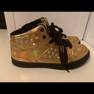 Gotta Flurt Shoes - Gold Holographic Sneakers - comfy and cute!